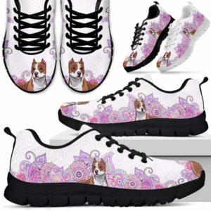SS-W-Dog-PastelMandalaBot-Pit_Bull-42@ Sneakers Pastel Mandala Bot Pit Bull 42 Mens Womens Pit Bull Sneakers. Pit Bull Dog Shoes for Men Women. Gift for Dog Lovers. Pastel Mandala Dog Mom Dog Dad Custom Shoes. 612681