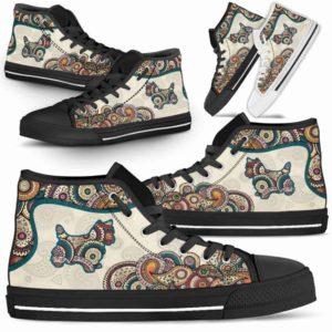 HTS-W-Dog-Mandala-Westie-24@ High Top Mandala Westie 24-Cute Mandala High Top Shoes for Dog Lovers. Westie Shoes for Men Women. Westie Dog Shoes. West Highland Terrier. Dog Mom Dog Dad Custom Shoes.