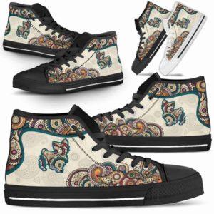 HTS-W-Dog-Mandala-Yorkie-25@ High Top Mandala Yorkie 25-Cute Mandala High Top Shoes for Dog Lovers. Yorkie Shoes for Men Women. Yorkie Dog Shoes. Yorkshire Terrier. Dog Mom Dog Dad Custom Shoes.