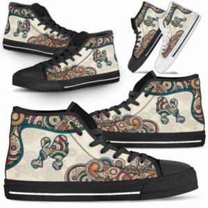 HTS-W-Dog-Mandala-Poodle-18@ High Top Mandala Poodle 18-Cute Mandala High Top Shoes for Dog Lovers. Poodle Shoes for Men Women. Poodle Dog Shoes. Dog Mom Dog Dad Custom Shoes.