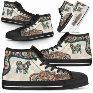 HTS-W-Dog-Mandala-Husky-16@ High Top Mandala Husky 16-Cute Mandala High Top Shoes for Dog Lovers. Husky Shoes for Men Women. Husky Dog Shoes. Dog Mom Dog Dad Custom Shoes.