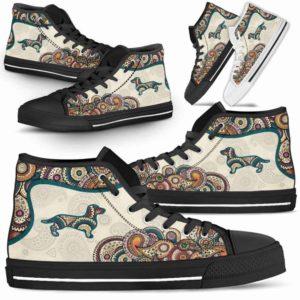 HTS-W-Dog-Mandala-Dachshund-9@ High Top Mandala Dachshund 9-Cute Mandala High Top Shoes for Dog Lovers. Dachshund Shoes for Men Women. Dachshund Dog Shoes. Dog Mom Dog Dad Custom Shoes.