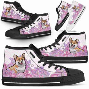 HTS-W-Dog-PastelMandalaBot-Corgi-19@ High Top Pastel Mandala Bot Dog Corgi 19-Corgi Shoes for Men Women. Corgi Dog Shoes. Cute Pastel Mandala High Top Shoes for Dog Lovers. Dog Mom Dog Dad Custom Shoes.