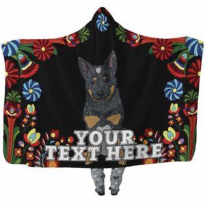 HB-W-Dog-Embroidery9-Heeler-35-Flower Colorful Heeler Dog Lovers Hooded Blanket Adults Kids Baby. Dog Mom Dog Dad Dog Owner Gift Custom Blanket. Australian Cattle