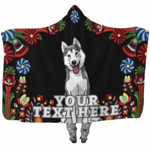 HB-W-Dog-Embroidery9-Husky-36-Flower Colorful Husky Dog Lovers Hooded Blanket Adults Kids Baby. Dog Mom Dog Dad Dog Owner Gift Custom Blanket.