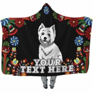 HB-W-Dog-Embroidery9-Westie-62-Flower Colorful Westie Dog Lovers Hooded Blanket Adults Kids Baby. Dog Mom Dog Dad Dog Owner Gift Custom Blanket. West Highland Terrier