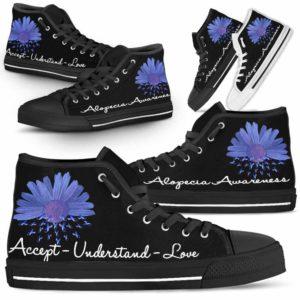 HTS-U-Awareness-AcceptUnderstandLove-Alopecia-0@ Accept Understand Love Sunflower Alopecia 0-Alopecia Awareness Ribbon Flower High Top Shoes Women Men. Gift For Fighter Survivor.