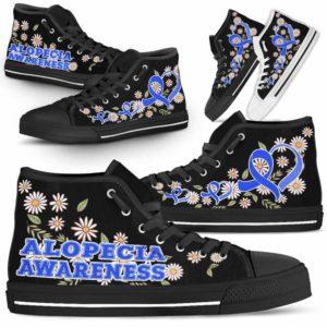 HTS-U-Awareness-DaisyRibbonBlackBG-Alopecia-0@ Daisy Ribbon Black BG Alopecia 0-Alopecia Awareness Ribbon Daisy High Top Shoes Women Men. Fighter Survivor Gift.