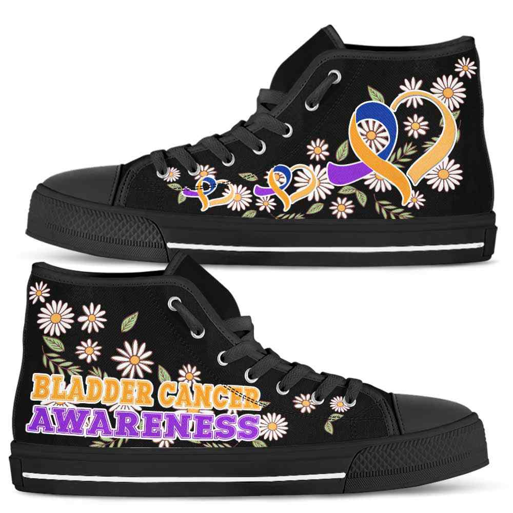 HTS-U-Awareness-DaisyRibbonBlackBG-Bladder_Cancer-7@ Daisy Ribbon Black BG Bladder Cancer 7-Bladder Cancer Awareness Ribbon Daisy High Top Shoes Women Men. Fighter Survivor Gift.