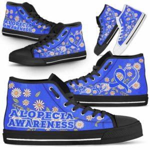 HTS-U-Awareness-DaisyRibbonColorfulBG-Alopecia-0@ Daisy Ribbon Colorful BG Alopecia 0-Alopecia Awareness Daisy Ribbon High Top Shoes Women Men. Fighter Survivor Gift.