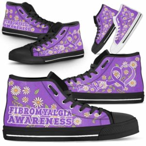 HTS-U-Awareness-DaisyRibbonColorfulBG-Fibromyalgia-23@ Daisy Ribbon Colorful BG Fibromyalgia 23-Fibromyalgia Awareness Daisy Ribbon High Top Shoes Women Men. Fighter Survivor Gift.