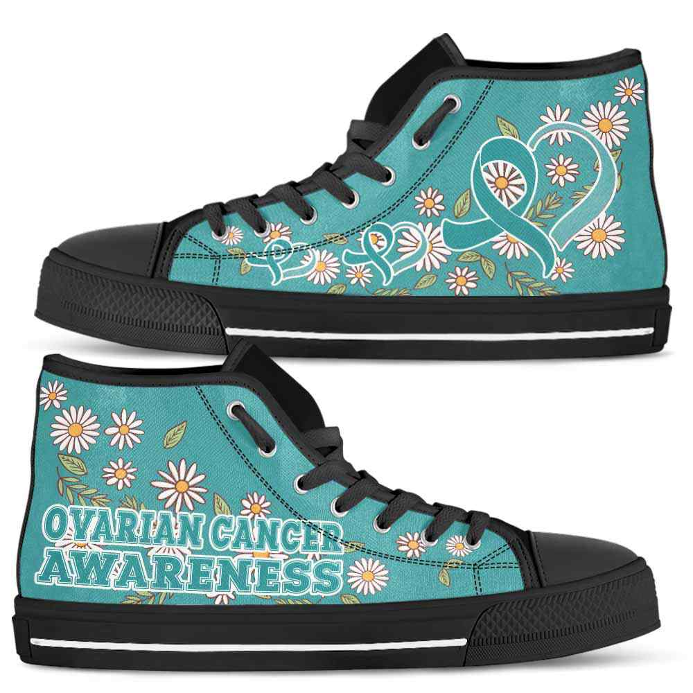 HTS-U-Awareness-DaisyRibbonColorfulBG-Ovarian_Cancer-32@ Daisy Ribbon Colorful BG Ovarian Cancer 32-Ovarian Cancer Awareness Daisy Ribbon High Top Shoes Women Men. Fighter Survivor Gift.