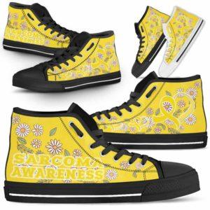 HTS-U-Awareness-DaisyRibbonColorfulBG-Sarcoma-38@ Daisy Ribbon Colorful BG Sarcoma 38-Sarcoma Awareness Daisy Ribbon High Top Shoes Women Men. Fighter Survivor Gift.