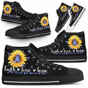 HTS-U-Awareness-FaithHopeLove-Alopecia-0@ Faith Hope Love Sunflower Alopecia 0-Alopecia Awareness Faith Hope Love Ribbon High Top Shoes Women Men. Fighter Survivor Gift.