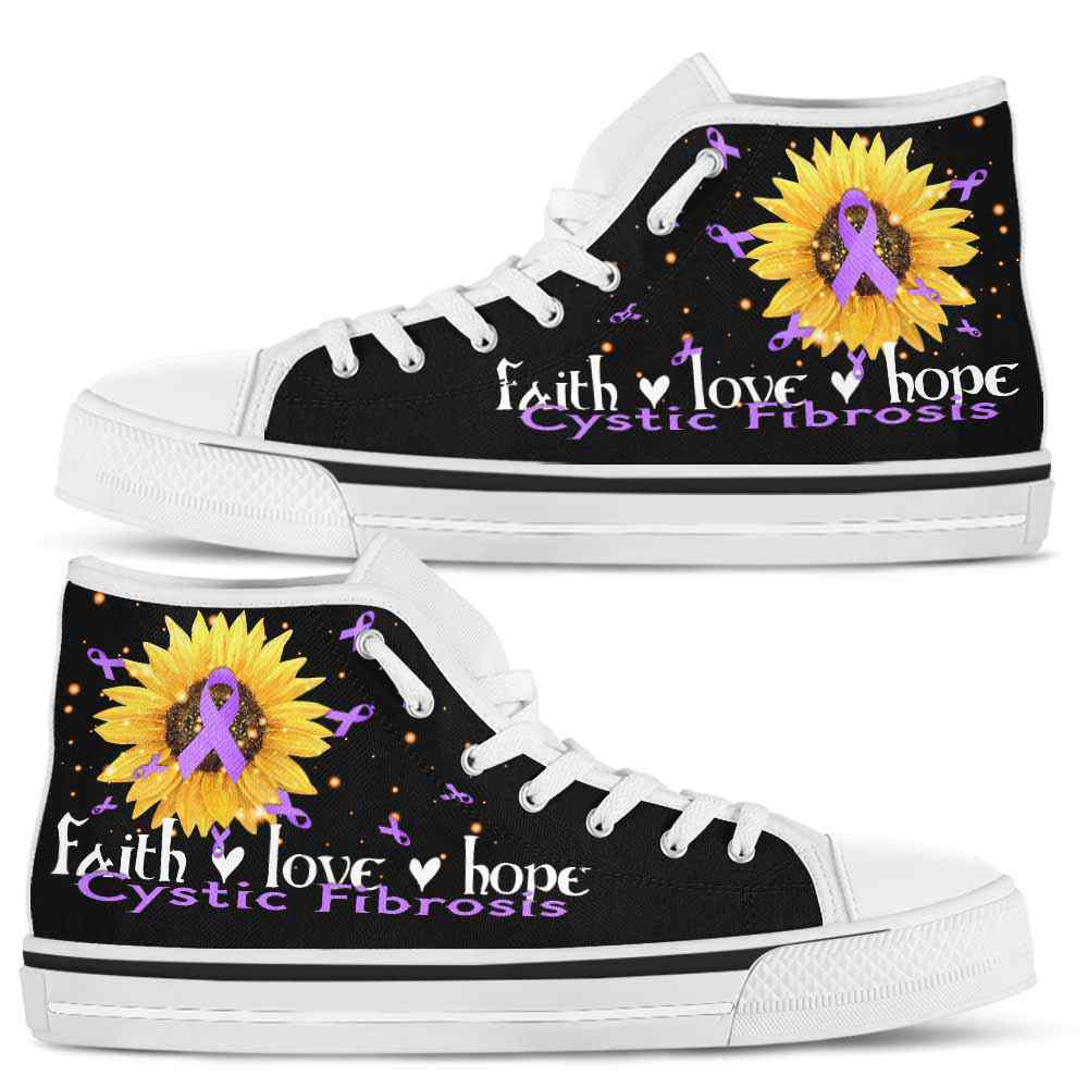 HTS-U-Awareness-FaithHopeLove-Cystic_Fibrosis-16@ Faith Hope Love Sunflower Cystic Fibrosis 16-Cystic Fibrosis Awareness Faith Hope Love Ribbon High Top Shoes Women Men. Fighter Survivor Gift.