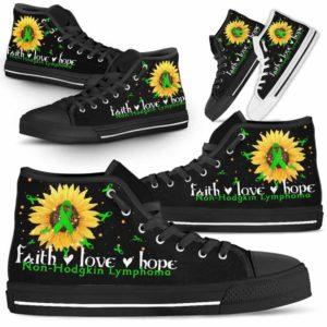 HTS-U-Awareness-FaithHopeLove-Non-Hodgkin_Lymphoma-31@ Faith Hope Love Sunflower Non-Hodgkin Lymphoma 31-Non-Hodgkin Lymphoma Awareness Faith Hope Love Ribbon High Top Shoes Women Men. Fighter Survivor Gift.