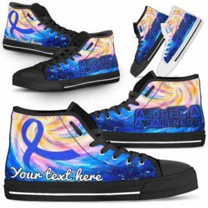 HTS-U-Awareness-GalaxyRibbon-Alopecia-0@ Galaxy Ribbon Custom Alopecia 0-Alopecia Awareness Ribbon Galaxy High Top Shoes Women Men. Faith Hope Love Fighter Survivor Gift.