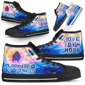 HTS-U-Awareness-GalaxyRibbonSunflower-Alopec-0-Alopecia Awareness Ribbon Galaxy Canvas Shoes High Top Shoes Women Men. Faith Hope Love Gift For Fighter Survivor.