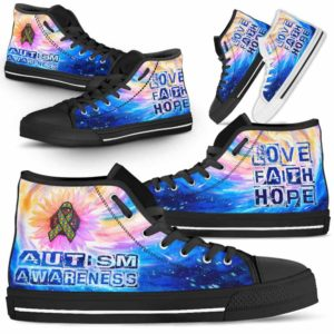 HTS-U-Awareness-GalaxyRibbonSunflower-Autism-5-Autism Awareness Ribbon Galaxy Canvas Shoes High Top Shoes Women Men. Faith Hope Love Gift For Fighter Survivor.