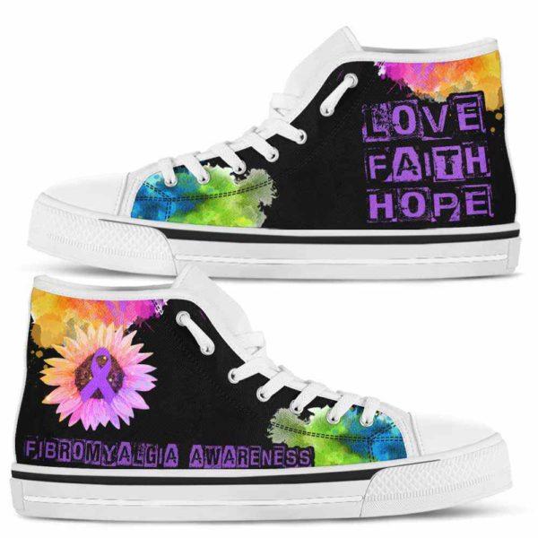 HTS-U-Awareness-LoveFaithHopeWatercolor-Fibromyalgia-23@ Love Faith Hope Watercolor Fibromyalgia 23-Fibromyalgia Awareness Ribbon Watercolor High Top Shoes. Faith Hope Love Fighter Survivor Gift.