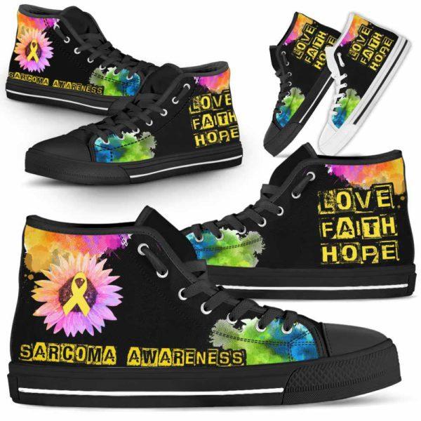 HTS-U-Awareness-LoveFaithHopeWatercolor-Sarcoma-38@ Love Faith Hope Watercolor Sarcoma 38-Sarcoma Awareness Ribbon Watercolor High Top Shoes. Faith Hope Love Fighter Survivor Gift.