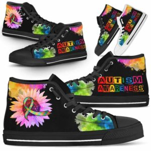 HTS-U-Awareness-WatercolorSunflower-Autism-5-Autism Awareness Ribbon Sunflower Watercolor Canvas Shoes High Top Shoes Women Men. Gift For Fighter Survivor.