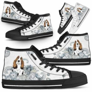 HTS-U-Dog-BlueMandala-Basset_Hound-3@ Blue Mandala Basset Hound 3-Basset Hound Dog Lovers High Top Shoes Gift For Men Women. Pastel Mandala Custom Shoes.