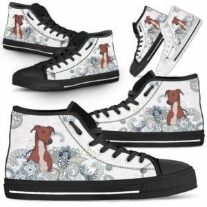 HTS-U-Dog-BlueMandala-Greyhound-31@ Blue Mandala Greyhound 31-Greyhound Dog Lovers High Top Shoes Gift For Men Women. Pastel Mandala Custom Shoes.