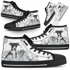 HTS-U-Dog-BlueMandala-Greyhound-32@ Blue Mandala Greyhound 32-Greyhound Dog Lovers High Top Shoes Gift For Men Women. Pastel Mandala Custom Shoes.