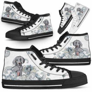 HTS-U-Dog-BlueMandala-Weimaraner-61@ Blue Mandala Weimaraner 61-Weimaraner Dog Lovers High Top Shoes Gift For Men Women. Pastel Mandala Custom Shoes.