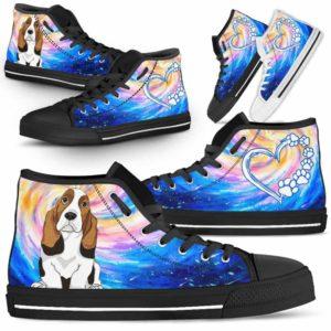HTS-U-Dog-DogGalaxy-Basset_Hound-3@ Dog Galaxy Basset Hound 3-Basset Hound Dog Lovers High Top Shoes Gift Men Women Dog Mom Dog Dad. Galaxy Love Custom Shoes.
