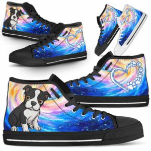 HTS-U-Dog-DogGalaxy-Boston_Terrier-6@ Dog Galaxy Boston Terrier 6-Boston Terrier Dog Lovers High Top Shoes Gift Men Women Dog Mom Dog Dad. Galaxy Love Custom Shoes.