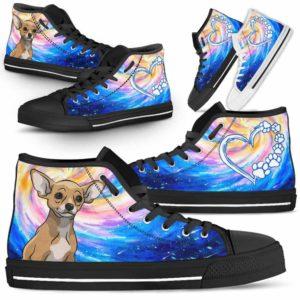 HTS-U-Dog-DogGalaxy-Chihuahua-16@ Dog Galaxy Chihuahua 16-Chihuahua Dog Lovers High Top Shoes Gift Men Women Dog Mom Dog Dad. Galaxy Love Custom Shoes.