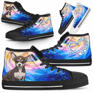 HTS-U-Dog-DogGalaxy-Chihuahua-17@ Dog Galaxy Chihuahua 17-Chihuahua Dog Lovers High Top Shoes Gift Men Women Dog Mom Dog Dad. Galaxy Love Custom Shoes.