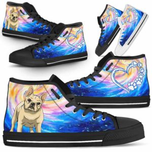 HTS-U-Dog-DogGalaxy-Frenchie-23@ Dog Galaxy Frenchie 23-Frenchie Dog Lovers High Top Shoes Gift Men Women Dog Mom Dog Dad. Galaxy Love Custom Shoes.