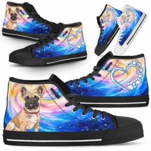 HTS-U-Dog-DogGalaxy-Frenchie-26@ Dog Galaxy Frenchie 26-Frenchie Dog Lovers High Top Shoes Gift Men Women Dog Mom Dog Dad. Galaxy Love Custom Shoes.