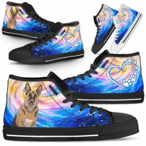 HTS-U-Dog-DogGalaxy-German_Shepherd-29@ Dog Galaxy German Shepherd 29-German Shepherd Dog Lovers High Top Shoes Gift Men Women Dog Mom Dog Dad. Galaxy Love Custom Shoes.