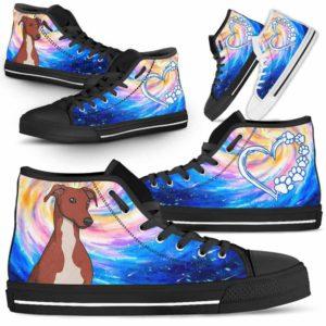 HTS-U-Dog-DogGalaxy-Greyhound-31@ Dog Galaxy Greyhound 31-Greyhound Dog Lovers High Top Shoes Gift Men Women Dog Mom Dog Dad. Galaxy Love Custom Shoes.