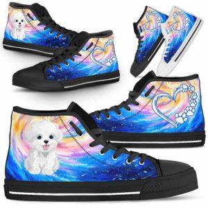 HTS-U-Dog-DogGalaxy-Havanese-34@ Dog Galaxy Havanese 34-Havanese Dog Lovers High Top Shoes Gift Men Women Dog Mom Dog Dad. Galaxy Love Custom Shoes.