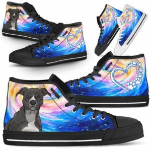 HTS-U-Dog-DogGalaxy-Pit_Bull-41@ Dog Galaxy Pit Bull 41-Pit Bull Dog Lovers High Top Shoes Gift Men Women Dog Mom Dog Dad. Galaxy Love Custom Shoes.
