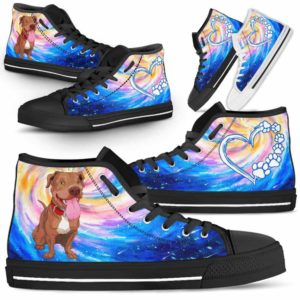 HTS-U-Dog-DogGalaxy-Pit_Bull-43@ Dog Galaxy Pit Bull 43-Pit Bull Dog Lovers High Top Shoes Gift Men Women Dog Mom Dog Dad. Galaxy Love Custom Shoes.