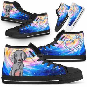 HTS-U-Dog-DogGalaxy-Weimaraner-61@ Dog Galaxy Weimaraner 61-Weimaraner Dog Lovers High Top Shoes Gift Men Women Dog Mom Dog Dad. Galaxy Love Custom Shoes.