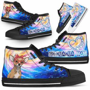 HTS-U-Dog-DogMomGalaxy-Chihuahua-16@ Dog Mom Galaxy Chihuahua 16-Chihuahua Mom Dog Lovers High Top Shoes Gift Women Dog Mom. Galaxy Heart Love Custom Shoes.