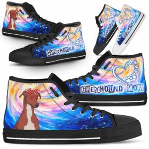 HTS-U-Dog-DogMomGalaxy-Greyhound-31@ Dog Mom Galaxy Greyhound 31-Greyhound Mom Dog Lovers High Top Shoes Gift Women Dog Mom. Galaxy Heart Love Custom Shoes.