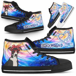 HTS-U-Dog-DogMomGalaxy-Greyhound-32@ Dog Mom Galaxy Greyhound 32-Greyhound Mom Dog Lovers High Top Shoes Gift Women Dog Mom. Galaxy Heart Love Custom Shoes.