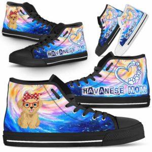 HTS-U-Dog-DogMomGalaxy-Havanese-33@ Dog Mom Galaxy Havanese 33-Havanese Mom Dog Lovers High Top Shoes Gift Women Dog Mom. Galaxy Heart Love Custom Shoes.