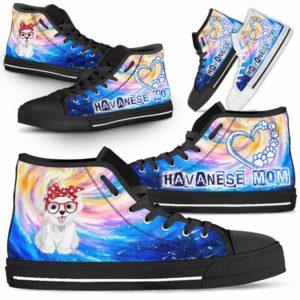HTS-U-Dog-DogMomGalaxy-Havanese-34@ Dog Mom Galaxy Havanese 34-Havanese Mom Dog Lovers High Top Shoes Gift Women Dog Mom. Galaxy Heart Love Custom Shoes.