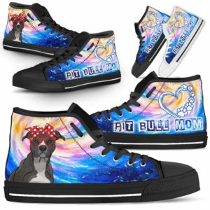 HTS-U-Dog-DogMomGalaxy-Pit_Bull-41@ Dog Mom Galaxy Pit Bull 41-Pit Bull Mom Dog Lovers High Top Shoes Gift Women Dog Mom. Galaxy Heart Love Custom Shoes.
