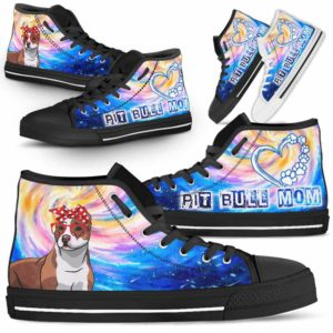 HTS-U-Dog-DogMomGalaxy-Pit_Bull-42@ Dog Mom Galaxy Pit Bull 42-Pit Bull Mom Dog Lovers High Top Shoes Gift Women Dog Mom. Galaxy Heart Love Custom Shoes.
