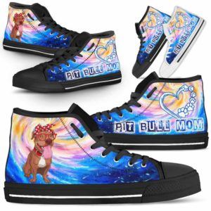 HTS-U-Dog-DogMomGalaxy-Pit_Bull-43@ Dog Mom Galaxy Pit Bull 43-Pit Bull Mom Dog Lovers High Top Shoes Gift Women Dog Mom. Galaxy Heart Love Custom Shoes.